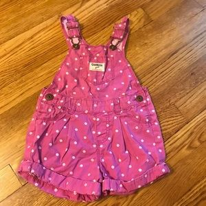 Pink & white polka dot short overalls by Osh Kosh
